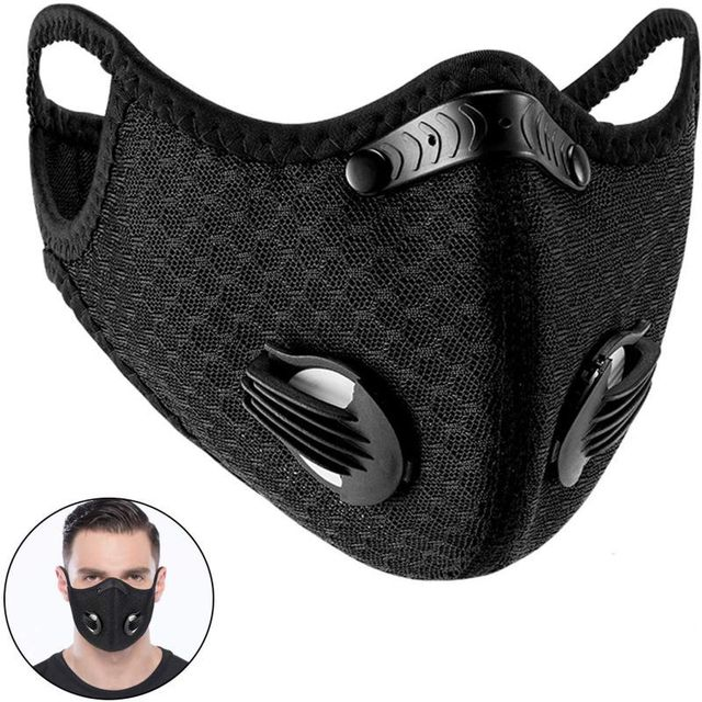 Windproof Dust Mask Sports Mask Activated Carbon Filter Exhaust Pipe Fitness Running Motorcycle Riding Mask