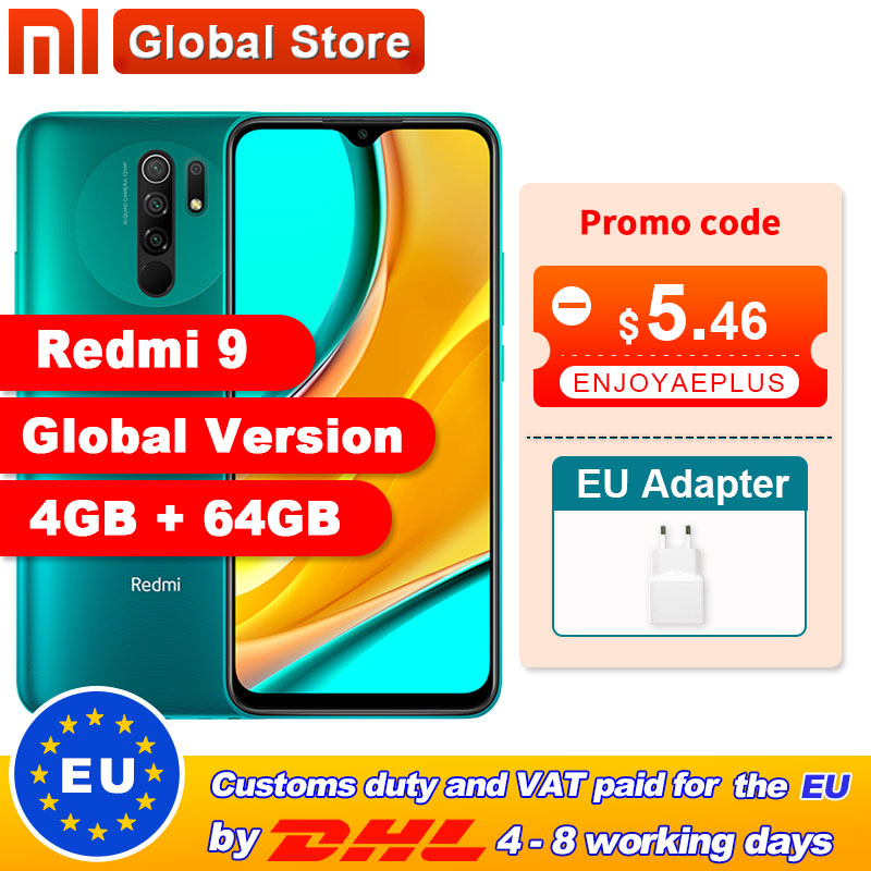 "In stock Global Version Redmi 9 4GB 64GB Smartphone Octa-core Media Tek Helio G80 13 MP Rear camera 5020 mAh Redmi9 Type-c 6.53""(China)"