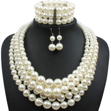 2020 Fashion Exaggerated Pearl Strand Necklace Earrings Bracelet Beaded 3 Bohemian Multi Layer Crystal Pearl Jewelry Sets Women