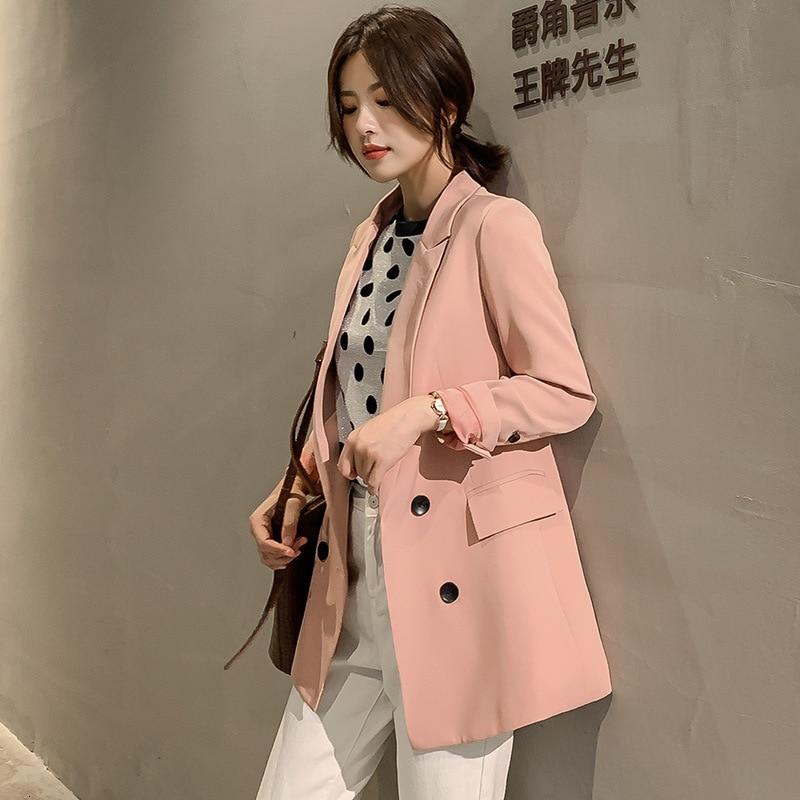2019 Autumn Pink Blazer Women Large Size Beige Black Double Breasted Big Long Blazer Fall Korean Slim Female Jacket Plus Size