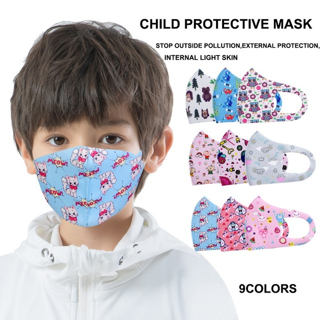 5pcs Cartoon Children PM2.5 Mouth Mask Kids Breath Valve Breathable Mask Mouth-Muffle Respirator Face Masks 1