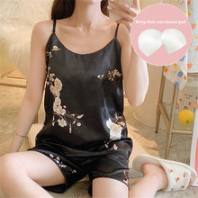 Pajamas women Condole belt Sexy Emulation silk With breast pad Woman's nightgown Thin Home pajamas and pantsuits