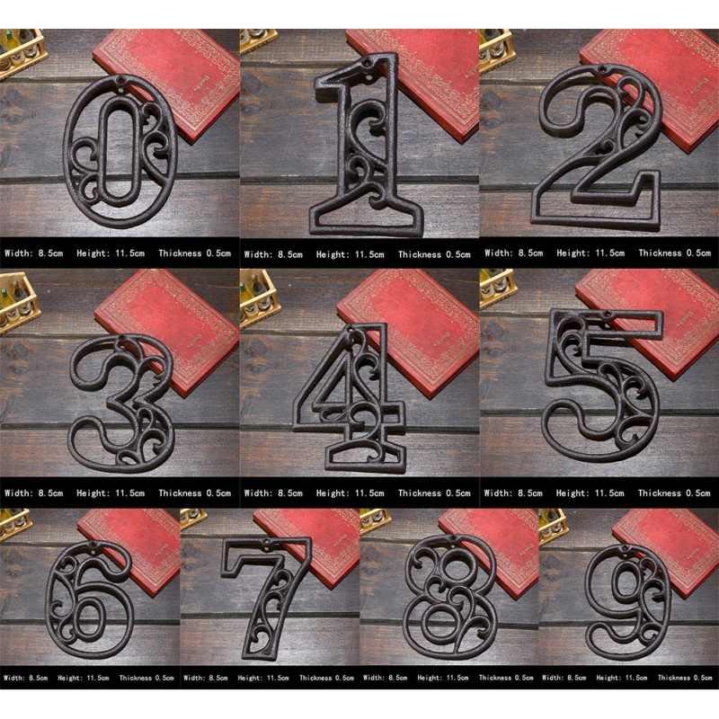 Endüstriyel dökme demir ev numarası amerikan tarzı kapı numaraları adres özelleştirilmiş numarası ev için restoran duvar dekorasyonu
