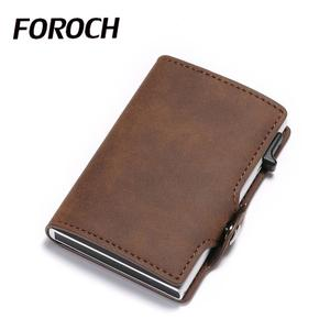 FOROCH держатель для карт из искусственной кожи Buisness бумажник для карт для мужчин и женщин блокирующий rfid Алюминиевый Тонкий чехол для кредитн...