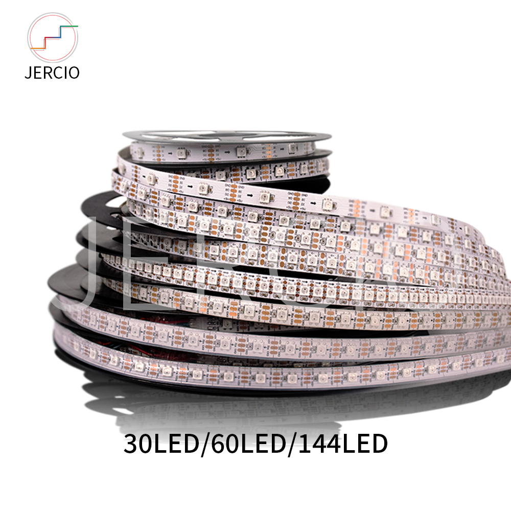 JERCIO RGB sk6812 ws2812b lumière de bande de LED intelligente 5050ic 30/60/144 pixel/LED s/m; Cool pratique individuel adressable ip20/65/67 DC5v
