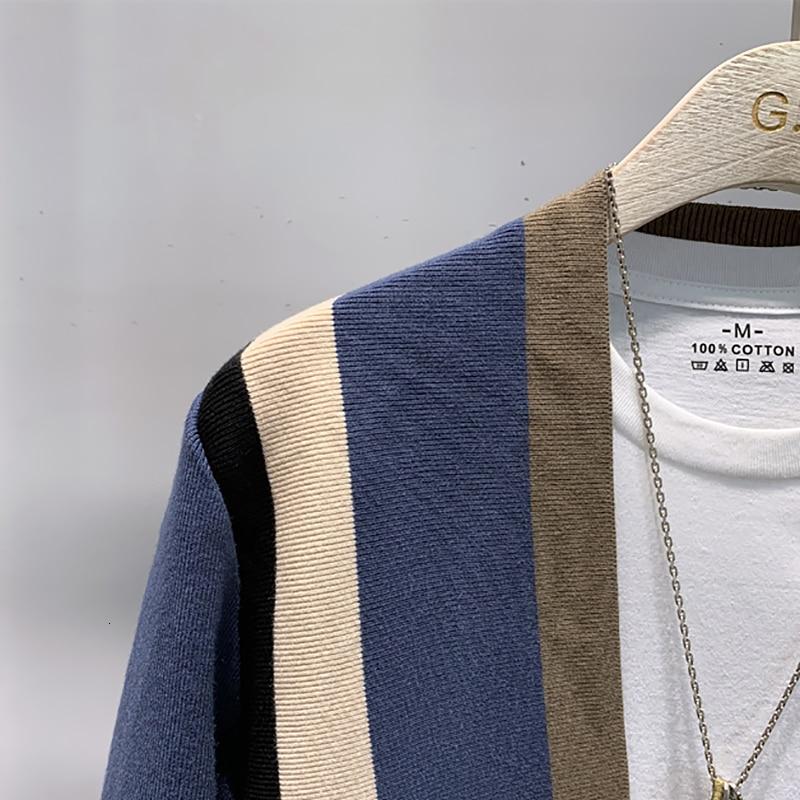 Épissage contraste pull manteau décontracté hommes Sweatercoat Tricot Cardigan tricoté chandail Casaco Masculino Hombre Cardigan pull - 4