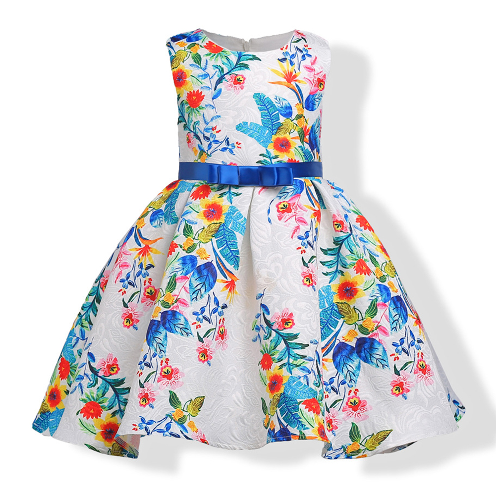 <font><b>Kids</b></font> Baby Girls Summer Formal Wedding Floral Sleeveless Tunic Grenadine <font><b>Cocktail</b></font> Evening Party <font><b>Dress</b></font> image