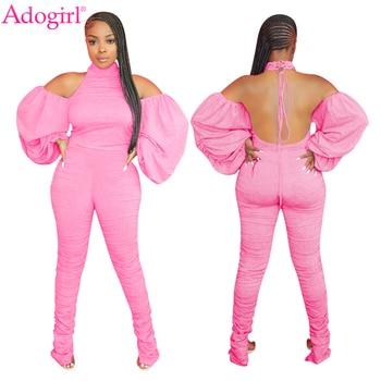 Adogirl Women Solid Fashion Jumpsuit Off Shoulder Ruched Lantern Sleeve Haler Backless Cotton Romper Stacked Pants Overalls lace applique lantern sleeve cold shoulder top