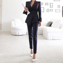 Mode solide rayé costumes ensemble femme simple boutonnage Blazer manteau mince coupe crayon pantalon 2 pièces ensemble affaires bureau dame costumes(China)