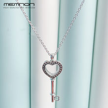 Floating Locket Heart Key Necklaces for women with CZ 925 sterling silver link chain silver pendant necklace fine Memnon jewelry(China)