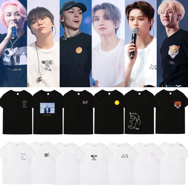 New 2020 Kpop SEVENTEEN T-shirt ODE TO YOU Summer 100% Cotton T Shirt Personal Signature Clothes Men/women Short-sleeve Tshirt