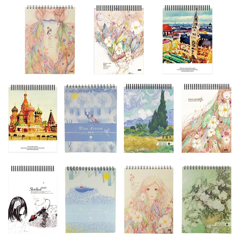 50Sheets A4 Paper Watercolor Sketch Book Notepad for Painting Drawing Diary Journal Notebook Sketchbook with Spiral Wire