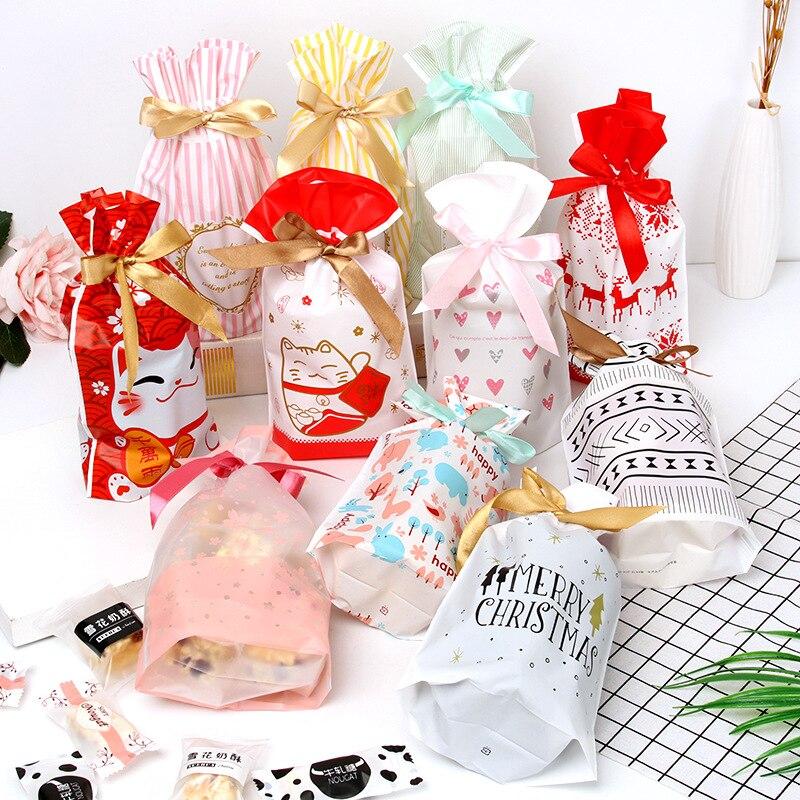 10PCSNew год Рождественский мешок Рождественский Подарочный пакет конфеты печенье Пластик мешок для упаковки Еда подарок кулиска карман