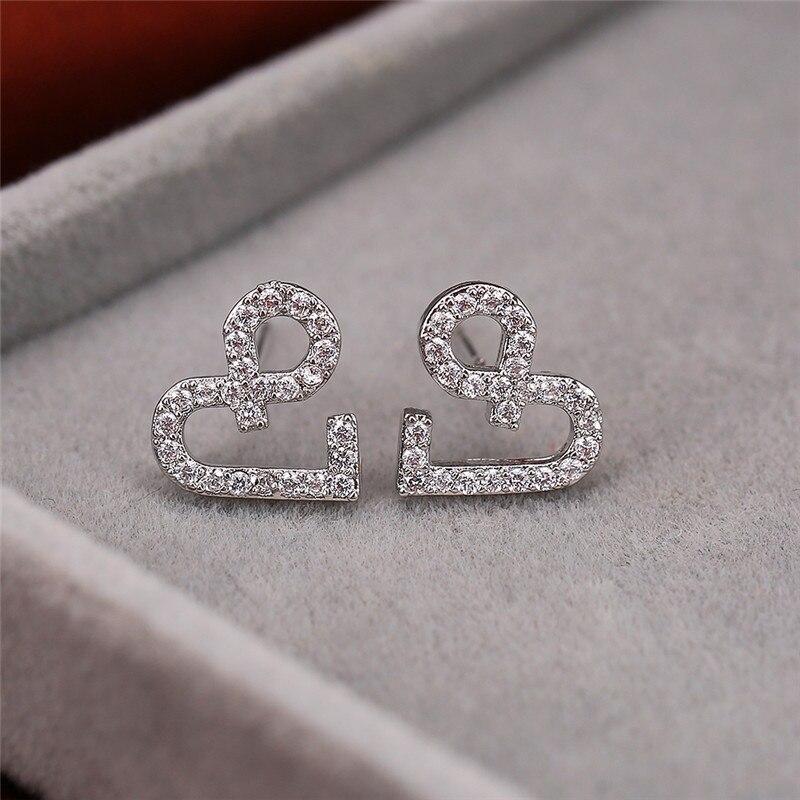 Minimalist Female White Crystal Small Earrings Dainty Silver Color Stud Earrings Luxury Love Heart Wedding Earrings For Women