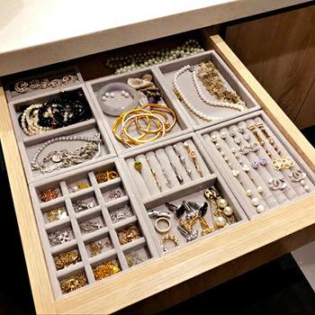 Nowa szuflada DIY biżuteria taca bransoletka pierścionek pudełko biżuteria organizator uchwyt na kolczyk mały rozmiar pasuje do większości przestrzeni pokojowej tanie i dobre opinie Rasalhaguer Drawer Jewelry DIY Storage Organizer small tray 18725 12cm 15 8cm Opakowanie i wyświetlacz biżuterii Tace