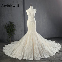 New Arrival Champagne Wedding Dress Mermaid 2020 Sleeveless Beaded Appliques Lace Wedding Gowns Women Bridal Dresses