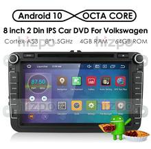 Lecteur d'autoradio 8 pouces 2 Din Android 10 pour VW Golf 5 Caddy Passa B6 Seat Leon GPS WIFI voiture DVD RAM 4 go ROM 64 go DSP IPS