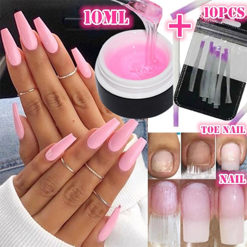 10Pcs Fibernails +1pcs Building Gel Fiberglass For Nail Extension Acrylic Nails Tips Set Manicure Tools