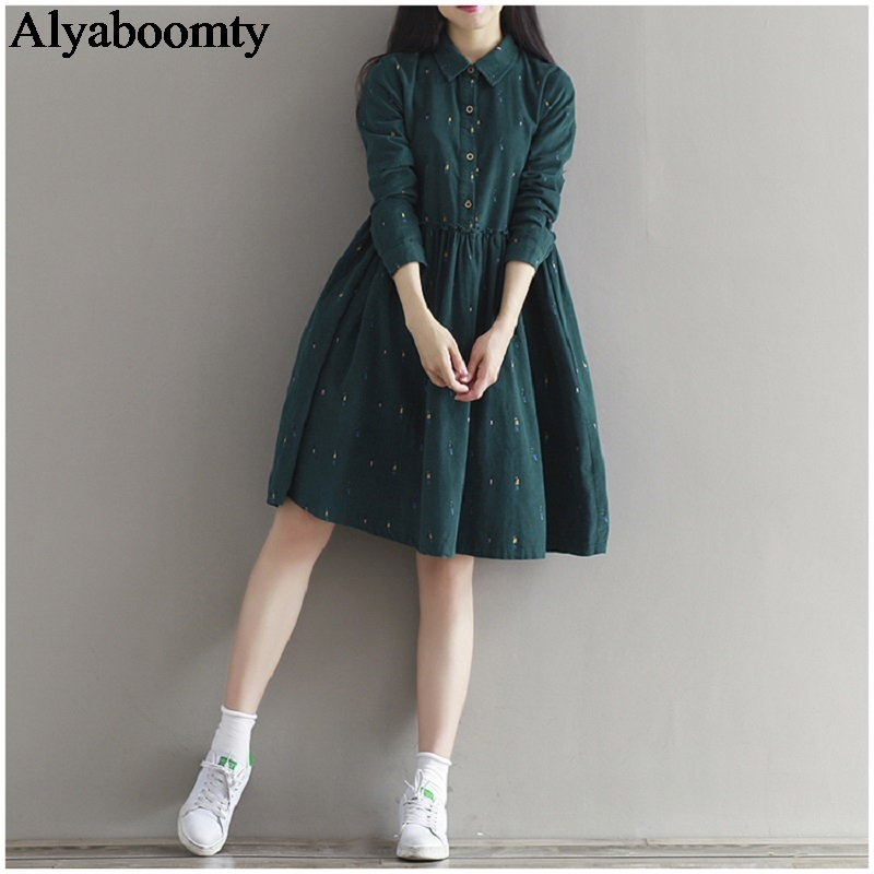 Женское свободное платье весна-осень,винтажное вельветовое платье темно-зеленого цвета,повседневное платье с длинным рукавом и карманами,...