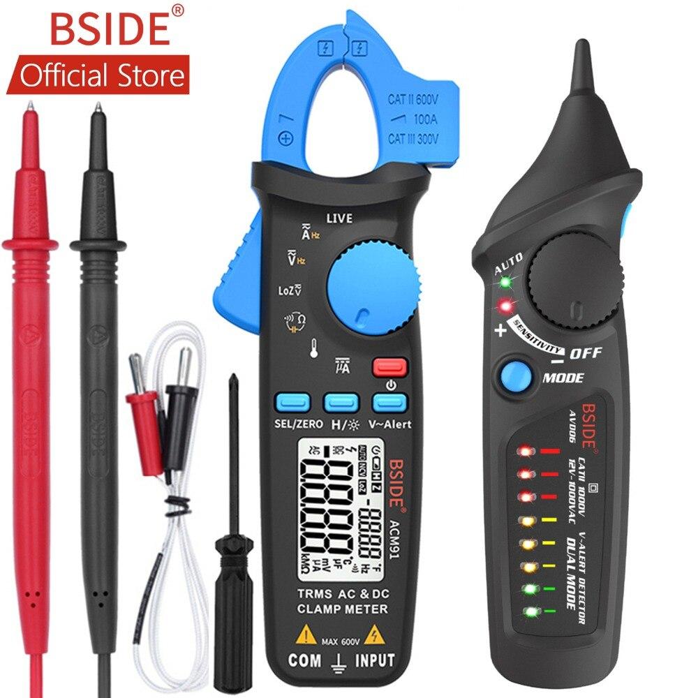 Bside acm91 디지털 클램프 미터 ac/dc 전류 1ma true rms 자동 범위 라이브 체크 ncv 온도 주파수 커패시터 테스터 멀티 미터