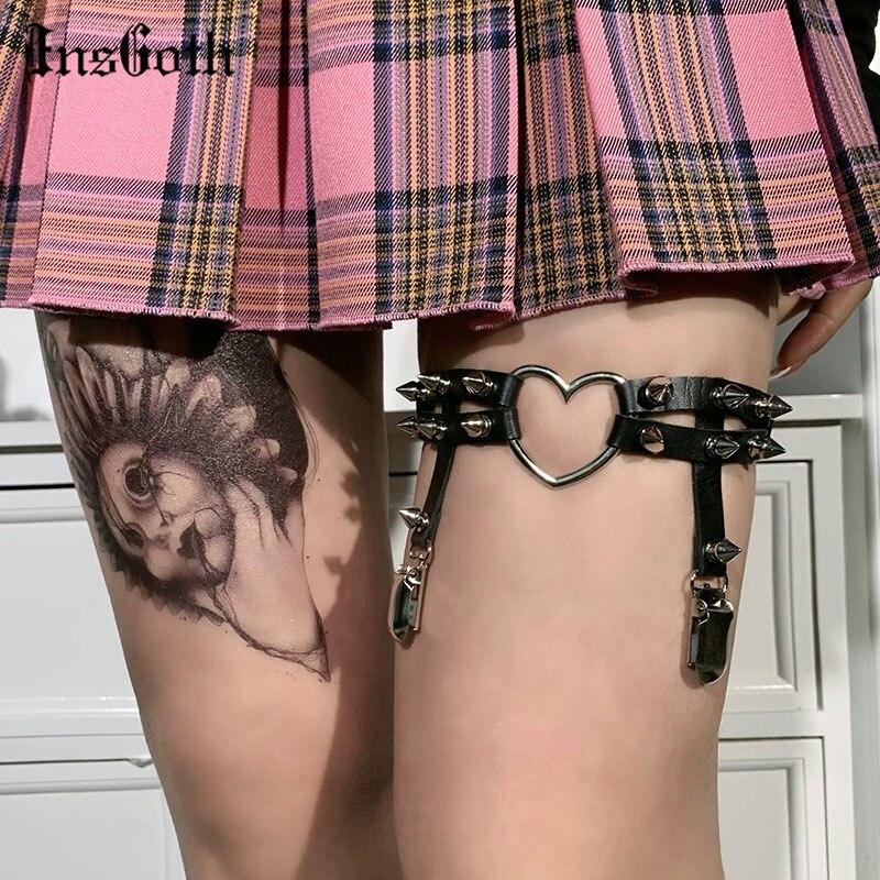 InsGoth Punk Heart Shaped Leather Garter Belt Harajuku Goth Metal Rivet Leg Ring Streetwear Gunge Black Stretchy Leg strap