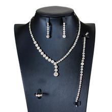Nowe zestawy biżuterii ślubnej pełny naszyjnik z kryształem austriackim zestawy kolczyków dla kobiet zestawy biżuterii ślubnej i imprezowej JS54 tanie tanio SHCXGQN Ze stopu miedzi Kobiety Śliczne Romantyczny Cyrkonia Party PLANT Naszyjnik kolczyki pierścień bransoletka NECKLACE EARRINGS BRACELET RINGS