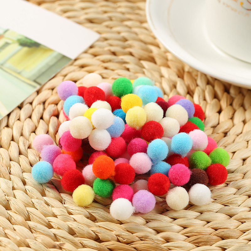 100pcs 10mm Mini Fluffy Soft Pom Poms Pompoms Ball Handmade Kids Toys Wedding Decor DIY Sewing Craft Supplies
