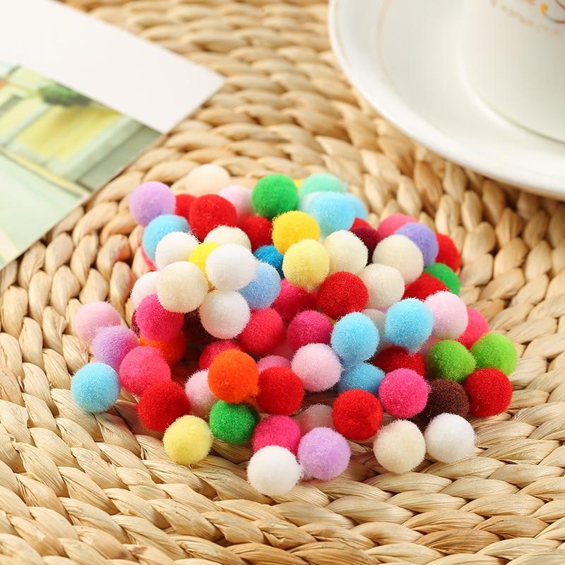 100pcs 10mm Mini Fluffy Soft Pom Poms Pompoms Ball Handmade Kids Toys Wedding Decor DIY Sewing Craft Supplies