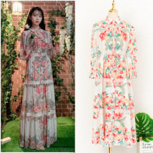 Floral Dress for women lace sweet DEL LUNA Hotel same IU Lee Ji Eun in autumn woman dresses spring