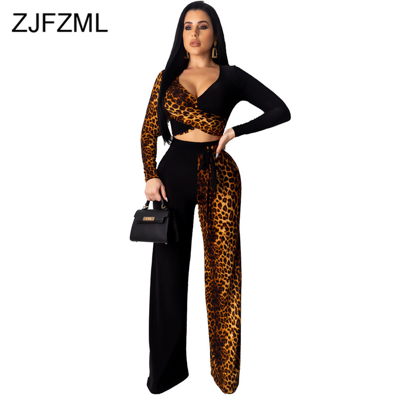 Leopard Splicing Sexy Two Piece Sets Women's Clothing Deep V Neck Long Sleeve Crop Top +Long Wide Leg Pant Vintage Club Outfits