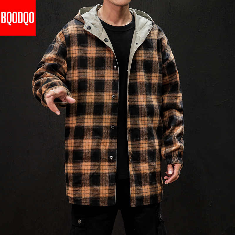 Chaqueta larga militar a cuadros de invierno japonés para hombre, chaqueta suelta de moda de otoño, estilo Hip Hop, chaqueta cazadora negra