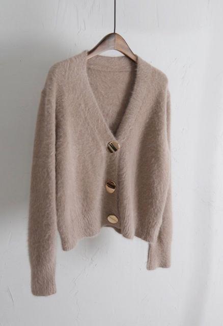 Mooirue Autumn Women Soft White Knitted Cashmere Sweater Double Button Women Warm Jumper V-Neck Winter Sweater 57