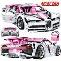 3618 sztuk miasto Technic samochód wyścigowy DIY Loz Mini cegły Supercar Bugattis 1:10 sport Model klocki dla dzieci prezent