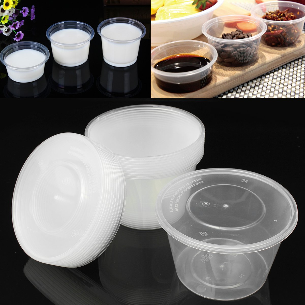 10 Pcs Lot Disposable Portion Cups Condiment Cup With Cover Sauce Yogurt Jelly Pudding Clear Storage Containers Salad Cup Bowl