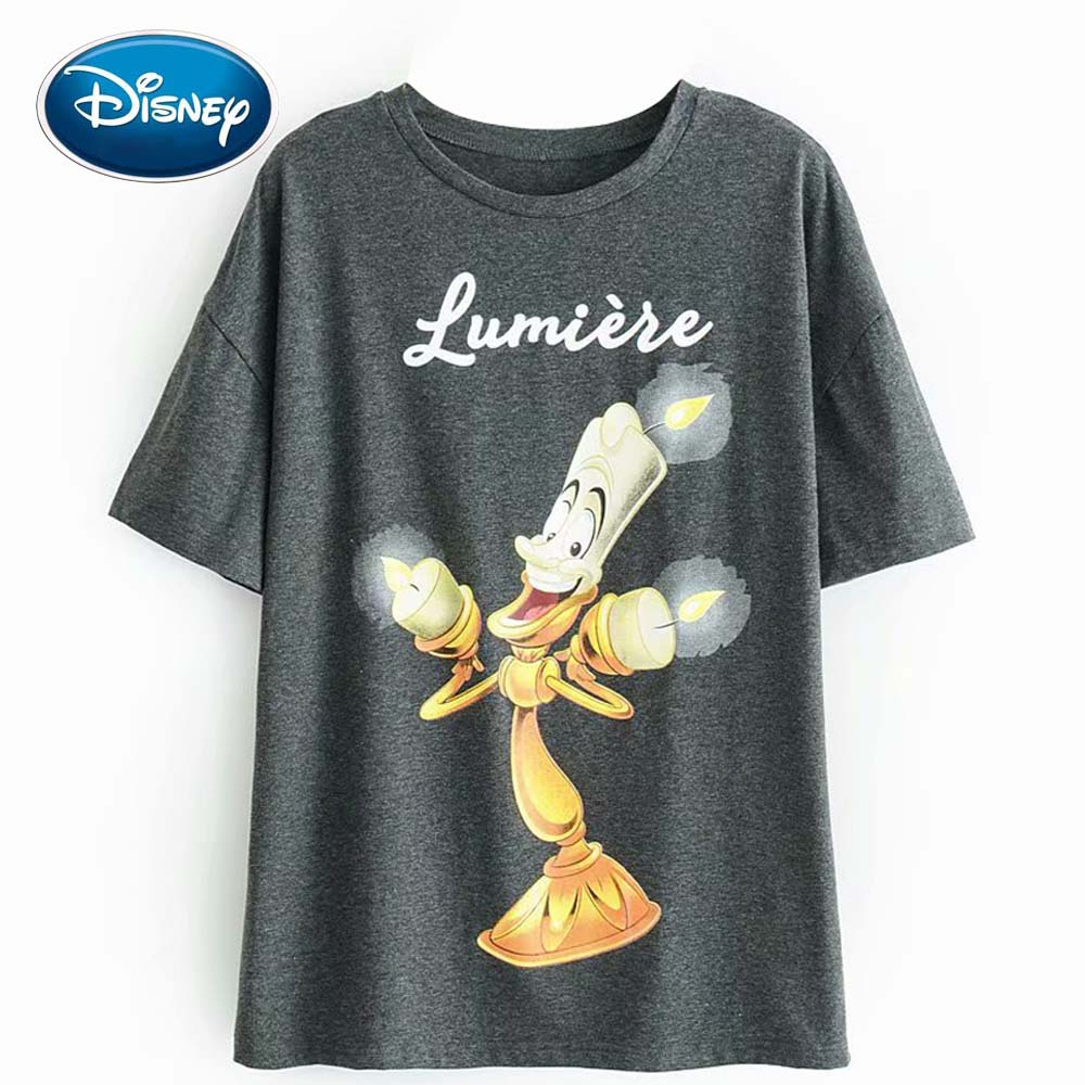 Disney Fashion Beauty And The Beast Lumiere Letter Candlestick Cartoon Print T-Shirt O-Neck Pullover Short Sleeve Women Tee Tops