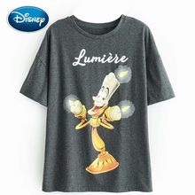 Disney Fashion Beauty and the Beast Lumiere Letter Candlestick Cartoon Print T-Shirt O-Neck Pullover Short Sleeve Women Tee Tops(China)