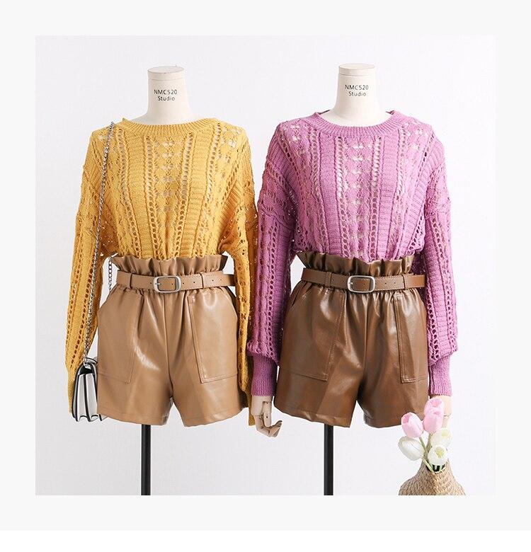 Black Khaki High Waist Loose Shorts 5