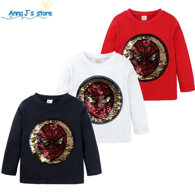 Meninos t-shirts de algodão crianças camiseta com lantejoulas reversível lantejoulas meninas t camisa crianças dos desenhos animados branco flash t camisa crianças t zx415