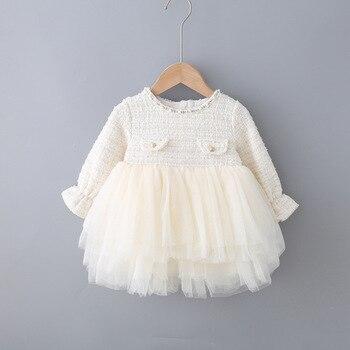 Детские платья осеннее многослойное платье для маленьких девочек детская одежда для девочек Одежда для маленьких девочек платье для девочек с жемчугом, От 0 до 4 лет
