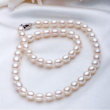 925 silver real natural big Wholesale 7-8mm meter shaped pearl necklace with silver buckle jj(China)