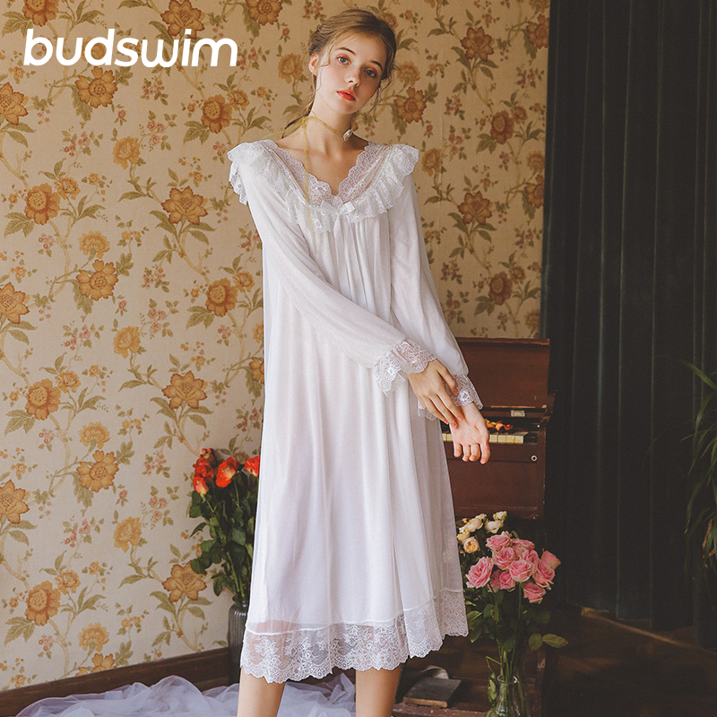 Women's Dress Princess   Sleepshirts   Vintage Princess   Nightgown   Sleepshirt Women Sleepwear Lace Wedding Night Dress Lounge Wear