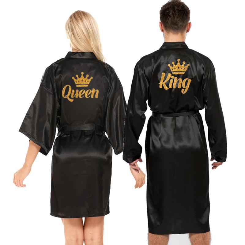 new queen king robe men satin robe couple getting married kimono glitter gold bridal wedding party 2021 bride groom kimono robes