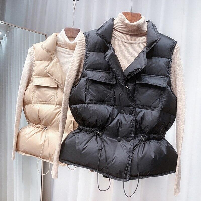 2020 nova ultra leve para baixo colete feminino colete curto à prova de vento leve quente feminino pato branco para baixo casaco sem mangas Coletes    -