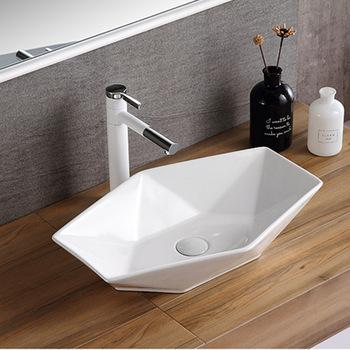Akcesoria łazienkowe umywalka ceramiczna biel umywalka nablatowa umywalki umywalki bez Facuet umywalka do łazienki tanie i dobre opinie Nie hole Prostokątne Ociekaczem H2020284 Blat umywalki Szampon umywalki Glazury natrysku without faucet