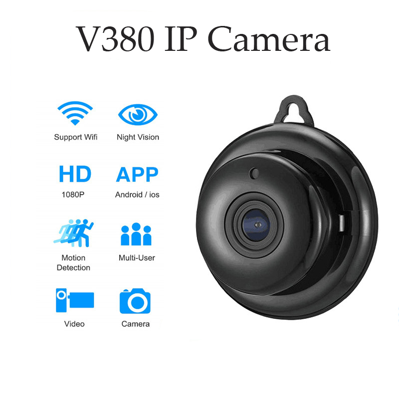 V380 Mini IP Camera Home Security Wifi 1080P Wireless Small CCTV Infrared Night Vision Motion Detection SD Card Slot Audio APP