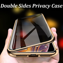 Magnetic Metal Adsorption Privacy 9H Tempered Glass Phone Case For iPhone 11 Pro 7 8 6s Plus XS Max XS X XR 8 7 6S 6 Case Cover uyfrate anti peeping privacy magnetic adsorption metal full tempered glass case for iphone xs max 11 pro max xr xs x 8 7 6 plus