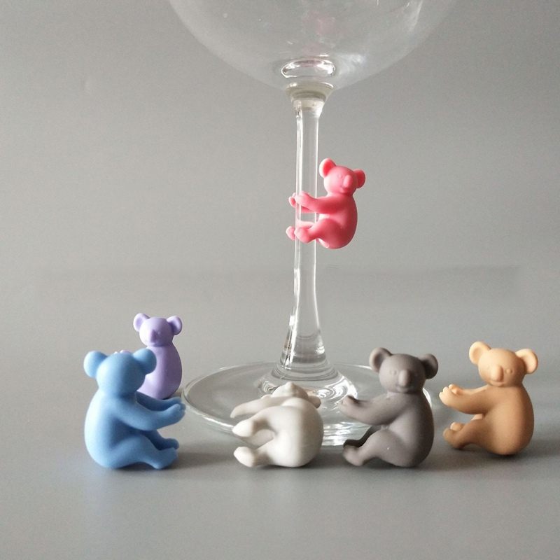 6pcs Silicone Koala Party Wine Glass Marker Charms Drinking  Cup Identification Cup Identify Cup Labels I