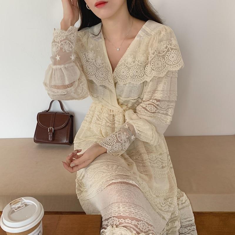 Hdf8c5a6a6ac34fe98fb0d40dd552166az - Spring V-Neck Long Sleeves Long Lace Midi Dress