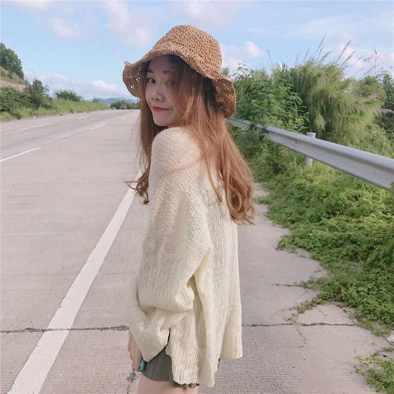 Women's Shirt Knitted Sunscreen Summer Loose Cardigan Open Stitch Shirt Fit Outwear Long Flare Sleeve Blouses Thin Top Hc