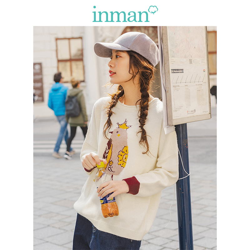 INMAN 2019 Autumn New Arrival O-neck Drop-shoulder Sleeve Contrart Cute Jacquard Loose Women Pullover